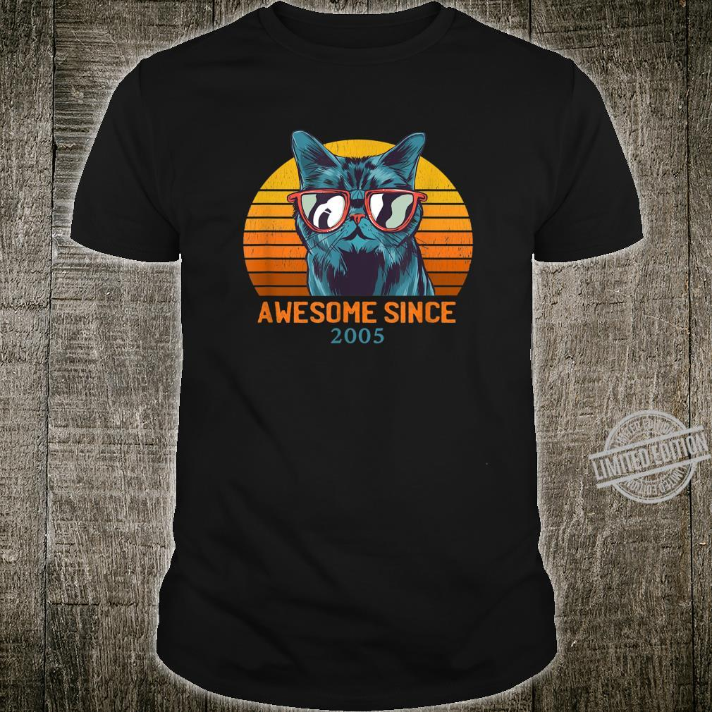 15th Birthday Cat Wearing Sunglasses Awesome Since 2005 Shirt