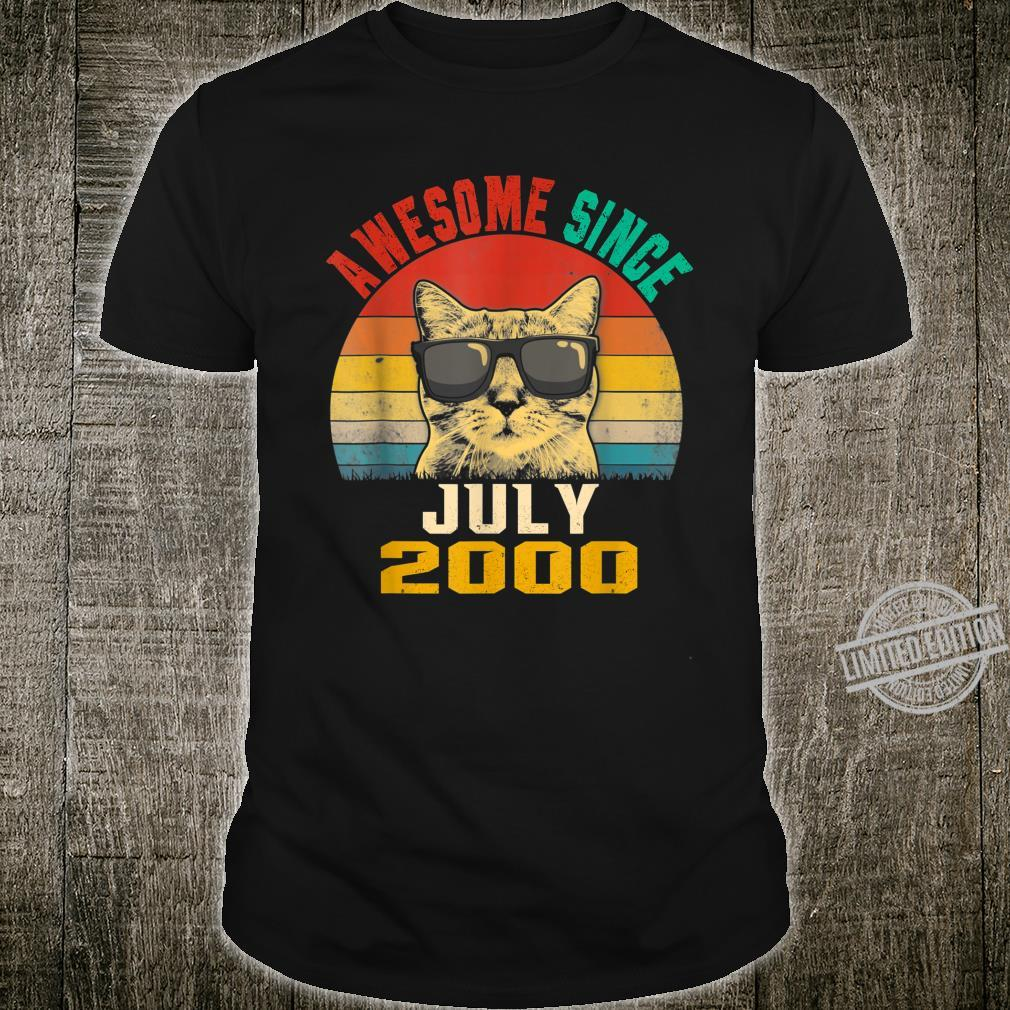 19th Birthday Awesome Since July 2000 Cat Shirt