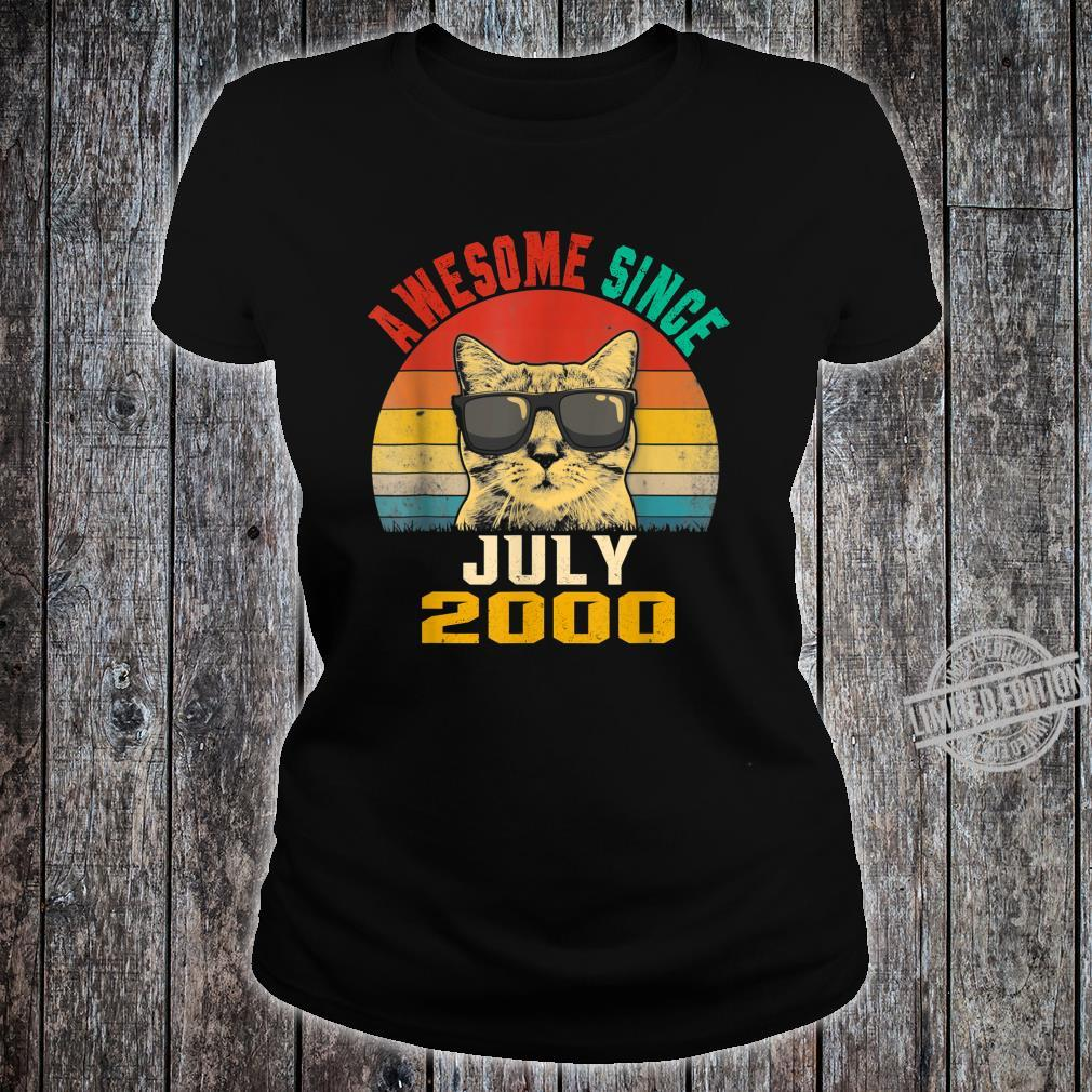 19th Birthday Awesome Since July 2000 Cat Shirt ladies tee
