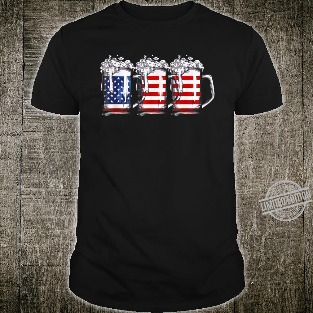 4th of July Beer American Flag Drinking Shirt