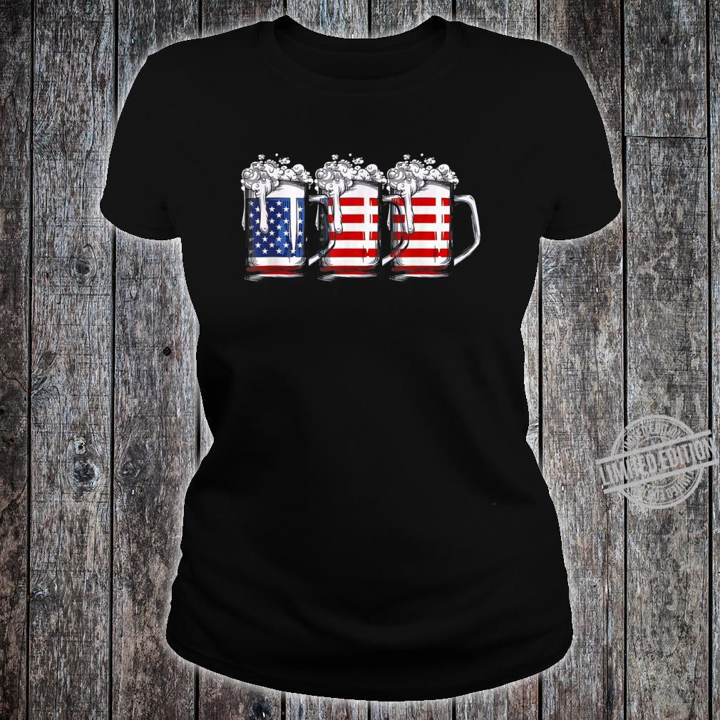 4th of July Beer American Flag Drinking Shirt ladies tee