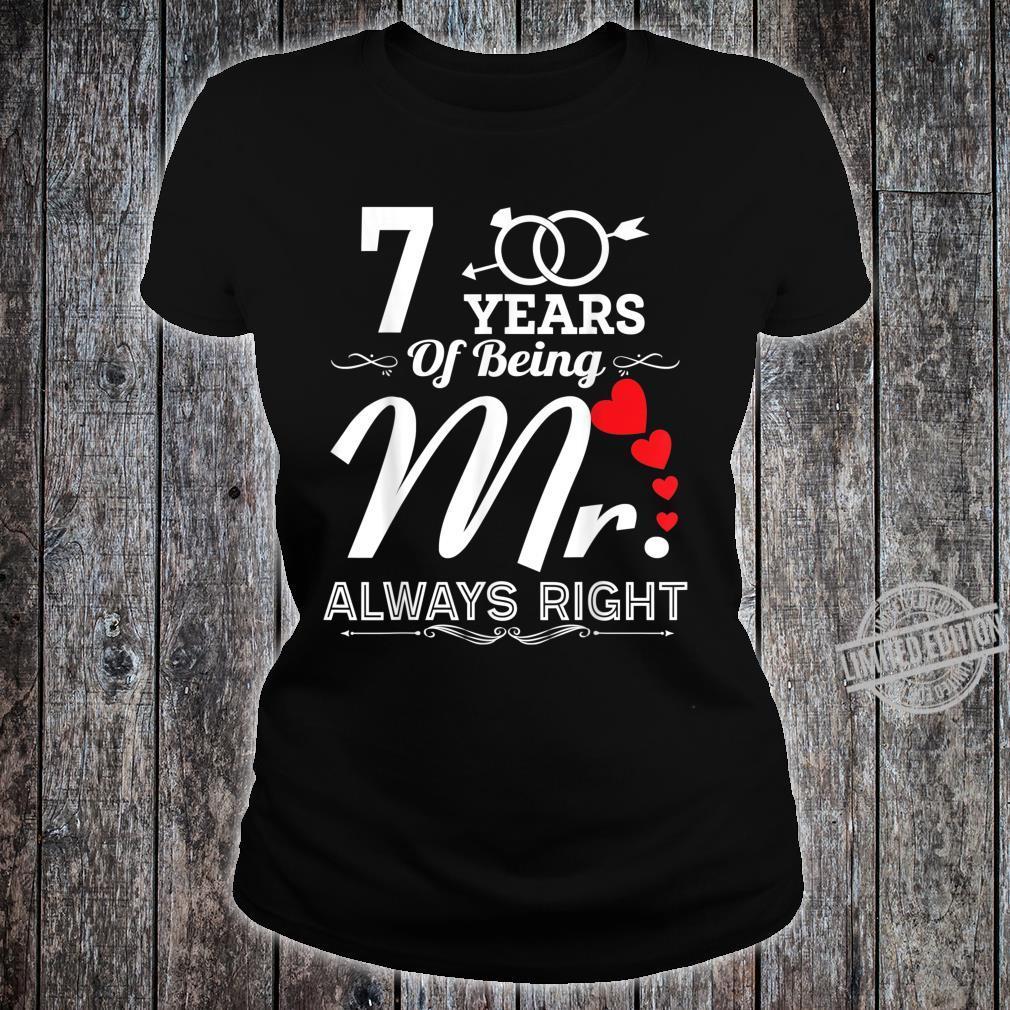 7 Years Of Being Mr. Husband 7th Wedding Anniversary Shirt ladies tee