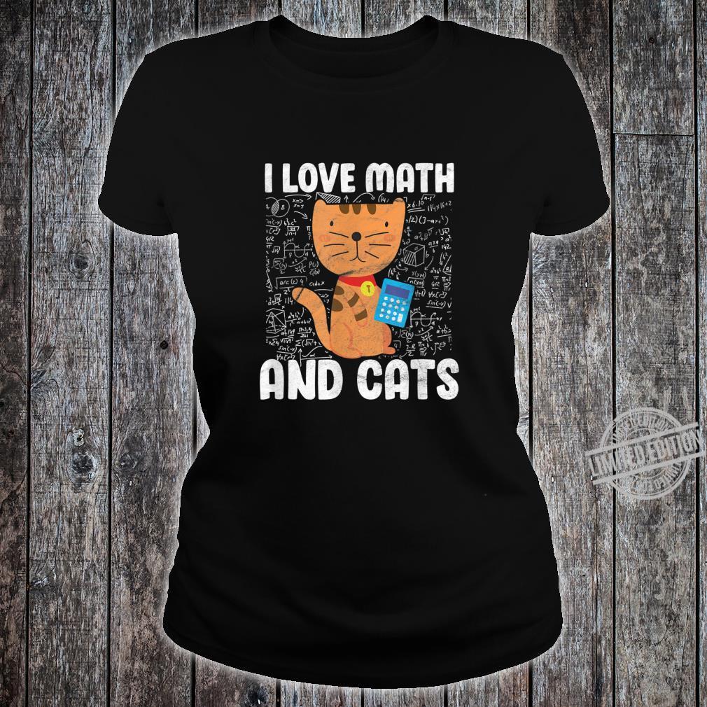 I Love Math And Cats Student Algebra Shirt ladies tee