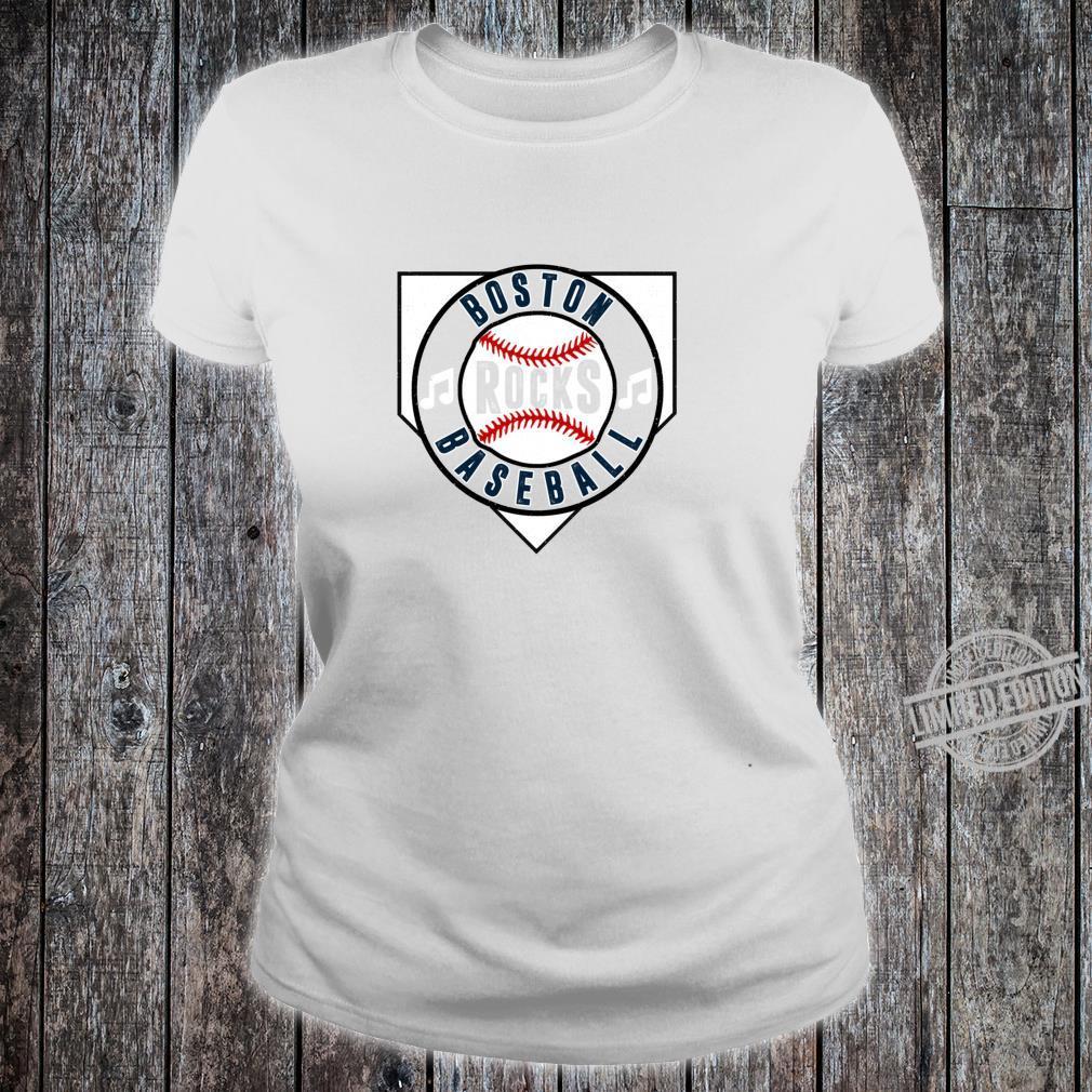 Vintage Boston Mass Baseball Rocks Retro Music Home Plate Shirt ladies tee
