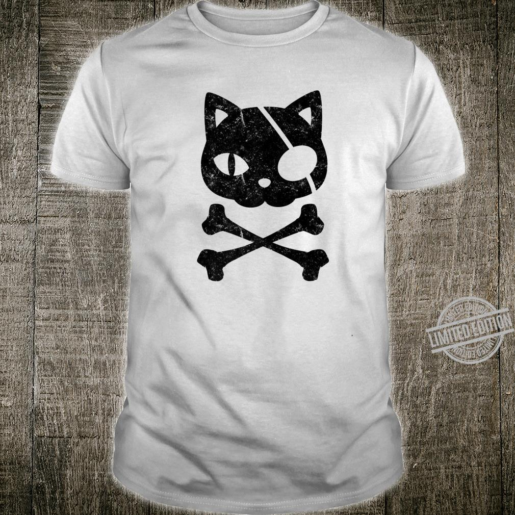 Vintage Pirate Cat Kitten Halloween Skull Cross Bones Shirt