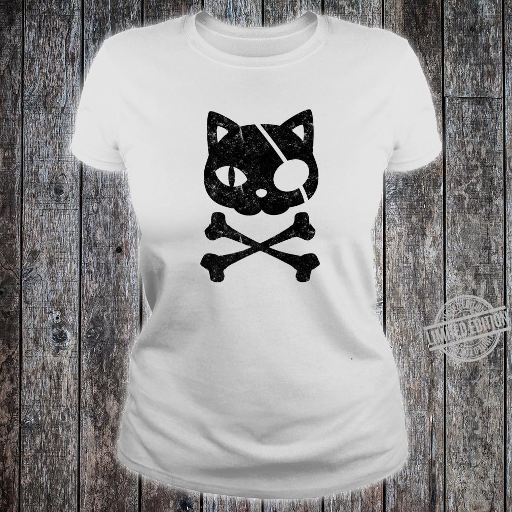Vintage Pirate Cat Kitten Halloween Skull Cross Bones Shirt ladies tee